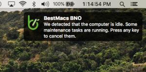macOS Notification displaying BestMacs custom maintenance tool